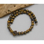 """18"""" long Tiger Eyes Lucky Stone Beads Silver Necklace"""