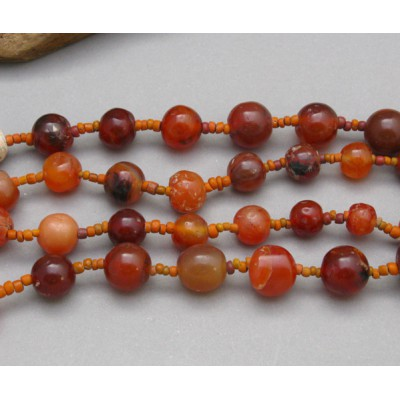"""Ancient Carnelian with Red-Orange Glass Beads 29"""" long!!"""