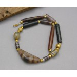 Ancient  Tube Agate  with Genuine Gold Spacer Beads Necklace