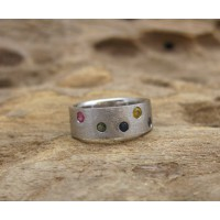 KG-036 Unique Mixed Genuine Gemstones Handmade Sterling Silver  Ring