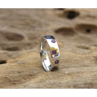 KG-037 Very Nice Genuine Amethyst White Gold Plated on Sterling Silver Handmade Gemstones Ring