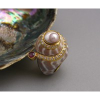 KG-030 Elegant Handmade!!  22k Gold Plated on Sterling Silver Pearl Tourmaline Shell Sea shell Ring Size 5.5