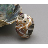 KG-038 Handmade Sterling Silver White Gold Plated with Multi Gemstones Sea Shell Ring Size 7.5
