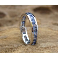 KG-035 Lovely Genuine Sky Blue Tanzanite White Gold Plated on Sterling Silver Handmade Gemstone Ring
