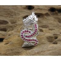 Naga Snake Nak Ruby Silver Ring Size 11us