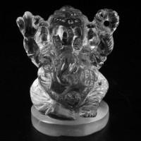 KG-007 White Clear crystal Quartz Carved in Lord Ganesh Ganesha Indian Hindu deity God talisman Buddha Amulet Statue