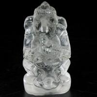 KG-008 Genuine White Clear Quartz Carved in Lord Ganesh Ganesha Indian Hindu talisman deity omm yoga Buddha Amulet gem gemstone Statue