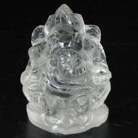 KG-019 White Clear crystal Quartz hand carved in Lord Ganesh Ganesha shape Indian Hindu God deity talisman Buddha Amulet Statue
