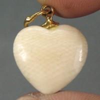 Old Ivory Carevd Heart Shape Pendant