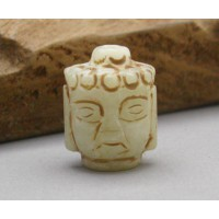 Old Tibet Carved Buddha Face Hade White Bead Pendant