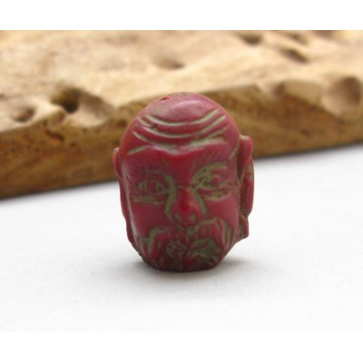 Old Red Coral Carved Buddha Face Head Stone Bead Pendant