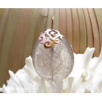 KG-029 Handmade-Filigree Sterling Silver Plated Pink Gold on a Beautiful natural Rutilated Quartz pendant