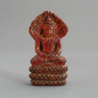 BD-006 Rare Old Red Crystal Stone Carving in Phra 'Nak Prok' Meditating on Snake Northern Thai Buddha Magic Amulet
