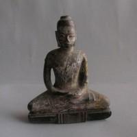 BD-011 Rare Old Antique Burmese Myanmar Wood Burma Buddha Amulet Statue