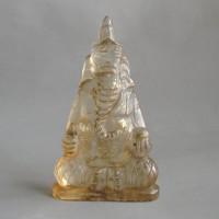 BD-012 Large Antique Old Rock Crystal Quartz Carved Lord Ganesh Ganesha Hindu Deity Goddess Seated Holding Money Bag Posture Buddha Statue