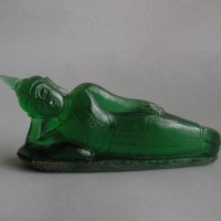 BD-015 Antique Old Emerald Green Cave Crystal Carved TUESDAY BUDDHA Phra Sai Yas Laying Reclining Sleeping Happy Buddha Statue