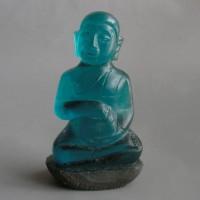 BD-016 Antique Old ocean blue Cave crystal Phra Upakut Bua Khem Lotus buddha Thai collectible Buddha Statue