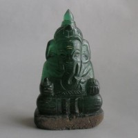 BD-003 Antique emerald Green Quartz Crystal Carved in Lord Ganesh ganesha seated Meditation Buddha Amulet Statue from Mung Hod 676 grams!!!
