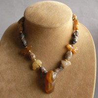 Ancitnt Agate Carved Animals Big Bird Genuine Gold Beads Necklace