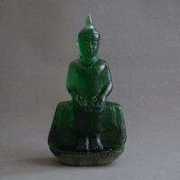 BD-001 Rare old antique Green crystal seated in meditation posture, buddha Phra Paang Palelai, Lucky buddha for Wednesday.
