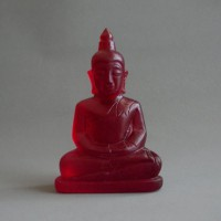 BD-004 Old Blood Red super red crystal quartz carved in Buddha seated in meditation posture, Magic Luckky Buddha Amulet from Meaung Hod, Chiang Mai Province, northern Thailand.