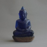 BD-002 Rare Old blue crystal carved in buddha seated in Meditation posture crowned Magic luckky buddha amulet from Meaung Hod, Northern Thailand
