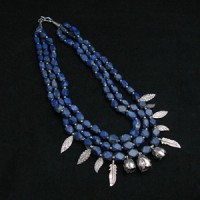 Old Lapis Lazuli Faces  with Sterling Silver Flower Leaf Spacer Beads Necklace