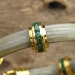 Africa White Elephant Hair with Genuine Emerald 22Gold Plated on Sterling Silver Bracelet