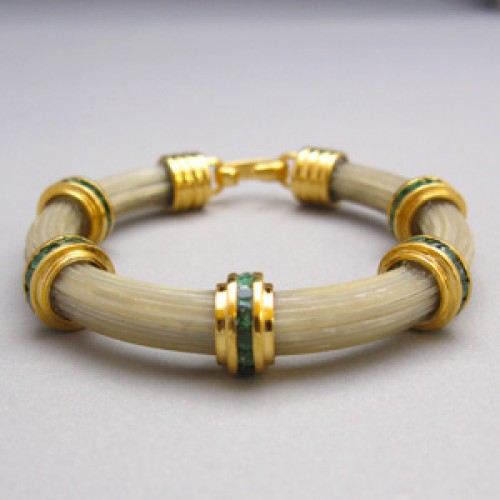 Yellow Gold Pair Of Bangles Studded With Cz For Women