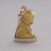 Animal Bone Carved Tiger Lion Secret Yan Thai Talisman Buddha Amulet Sterling Silver Pendant