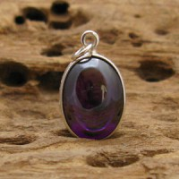 Handmade - Handcarved sterling silver case setting on a RARE Oval Dark Purple NAGA eye Thai talisman amulet Crystal