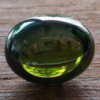 KG-112 Gorgeous color !! Olive Green Oval NAGA EYE or Manee Naga, eye of Naga Thai-Laos fetish talisman Cave Crystal Magic super Power Amulet