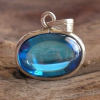 KG-066 Super Sky Blue Oval NAGA EYE Thai Talisman Cave Crystal Amulet with Handmade filigree sterling silver Case Pendant.