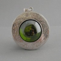 KG-060 RARE  Spring Green Button NAGA EYE Thai Talisman Cave Crystal Magic Amulet with Handmade Filigree Sterling Silver Case Pendant.