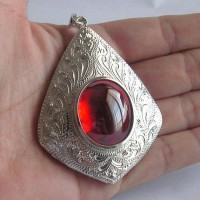 KG-062 RARE Oval Scarlet Blood Red NAGA EYE Thai Talisman Cave Crystal Magic Power Buddha Amulet Handmade Filigree Sterling Silver Pendant