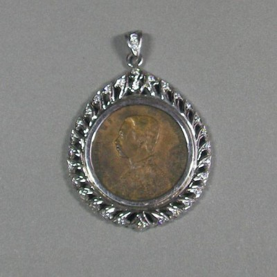 KG-058 RARE Authentic Antique Thaliand King Rama V Chulalongkorn late 1800 Copper Coin with Handmade Sterling Silver cz diamond Pendant