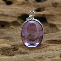 KG-067 Handmade - Handcarved sterling silver case setting on a RARE Purple oval NAGA eye Thai talisman amulet.