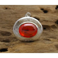 KG-064 Beautiful handmade-hand carved sterling silver case pendant setting on oval red-orange naga eye Thai amulet crytal.