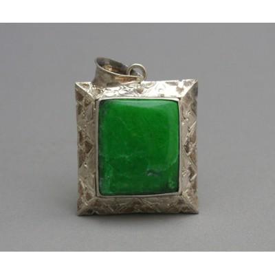 Antique Malachite Carved Sterling Silver Gemstone Pendant
